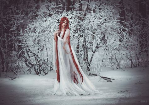 White winter wonderland, Long white dress and this angelic long red rapunzel hair, tangled with red hair <3 *** by Светлана  Беляева on 500px