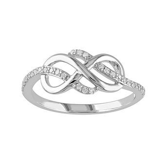 Stella Grace 1 8 Carat T W 10k White Gold Infinity Ring Fashion Rings Infinity Diamond Ring White Gold Rings