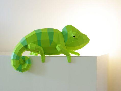 Camaleón papel escultura sorprendente