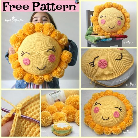 b87ff5aa93428 Crocheted Sunshine Pillow – Free Pattern  freecrochetpatterns  pillow