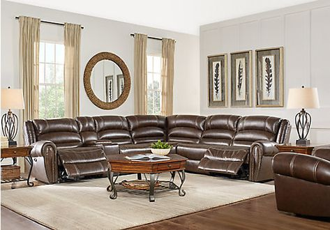 Sensational Donelle Brown Leather 6 Pc Power Reclining Sectional Gmtry Best Dining Table And Chair Ideas Images Gmtryco