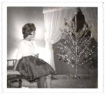 Vintage Christmas Photograph ~ Woman admiring the aluminum ...