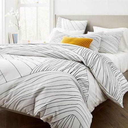 Organic Percale Landscape Linework Quilt Cover Pillowcases Duvet Covers Modern Duvet Covers Organic Cotton Duvet Cover