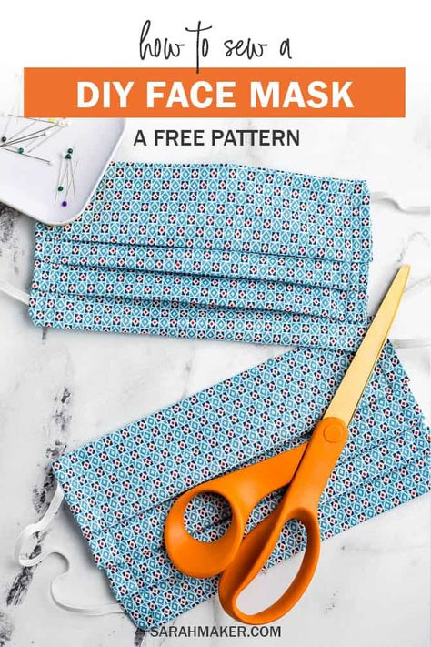 A free pattern for a DIY fabric face mask to sew for hospitals.  This fabric mask has a standard pleated design with an optional pocket for additional insert filter material. Use elastic ear loops or fabric ties.