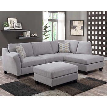 Mitch Fabric Sectional With Ottoman Grey Sectional Sofa Sectional Sofa With Chaise Living Room Sets Furniture