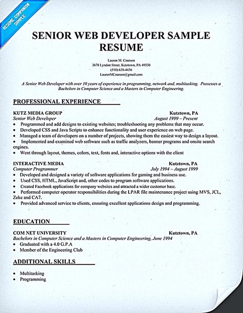 Web developer resume is needed when someone want to apply a job as - senior web developer resume