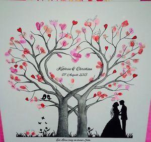 Wedding-Tree-Herz-Fingerabdruck-Baum-Hochzeit-Geschenk-Leinwand-50x50-60x60cm