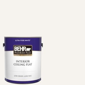 Behr Premium Plus 1 Gal Ultra Pure White Ceiling Flat Interior Paint 55801 The Home Depot In 2020 Behr Ultra Interior Paint Light Satin