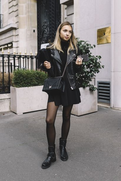 moto boots with dresses