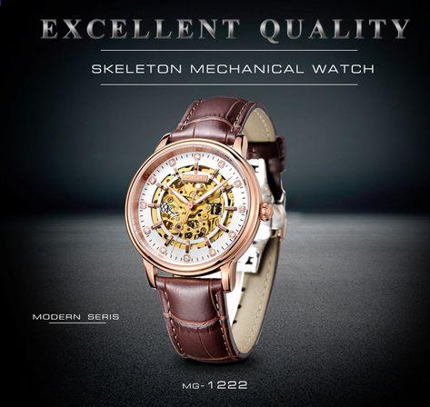 fdd0cf31187 2018 Real Tourbillon Skeleton Zatímco Memachical Mans hodinky Hnědé kožené  Saphire Dial Vodotěsné Japonsko Automatické muž náramkové hodinky