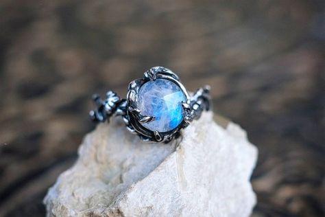 Moonstone Engagement Ring, Delicat ring, Flower ring, Branch ring by NellyRomanova on Etsy