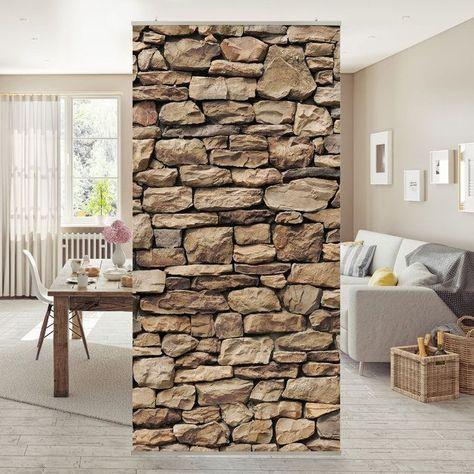 Flachenvorhang Set Amerikanische Steinwand Natur Wand Mauer Steine
