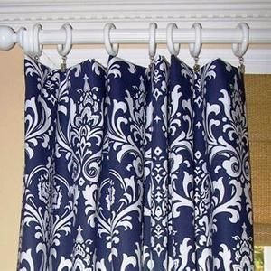 Window Curtains Drapery Panels Vintage Indigo Curtains Navy Etsy Blue Shower Curtains Blue And White Curtains Damask Curtains Blue and white curtain panels