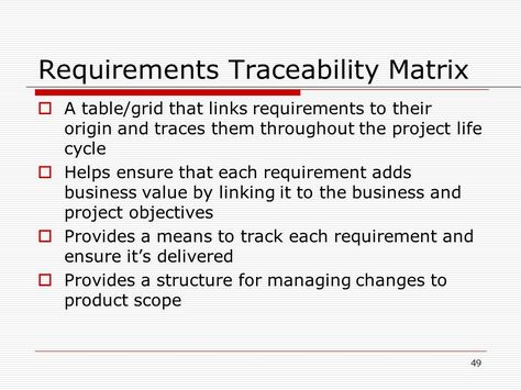 Image Result For Requirements Traceability Matrix  Project
