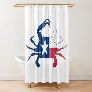 Crab Of Texas By Wickedcartoons Redbubble Texas Shower
