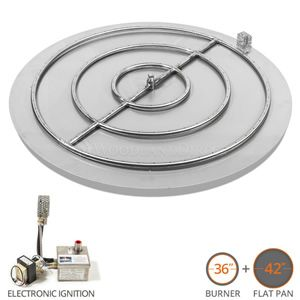 42 Round Flat Pan Fire Pit Burner System Electronic Ignition