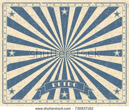 Grunge Circus Vintage Background Horizontal Retro Poster Vector Illustration With Blue Rays Circus Background Background Vintage Vintage Circus
