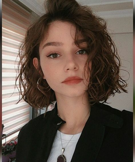 Curly Hair Cuts, Cut My Hair, Short Hair Cuts, New Hair, Curly Hair Styles, Curly Lob, Wavy Perm Short Hair, Short Wavy Haircuts, Edgy Short Hair