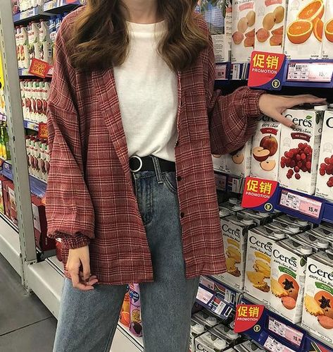 2019 New Woman Vent Vintage Plaid Shirt Single Breasted Turn down Collar Cotton Long Sleeve Button Feminina Sales Indie Outfits, Retro Outfits, Cute Casual Outfits, Korean Outfits, Soft Grunge Outfits, Indie Clothes, Red Fashion Outfits, Hipster Outfits, Artsy Outfits