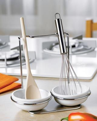 Kitchen Utensil Rest Set With Spoon and Whisk