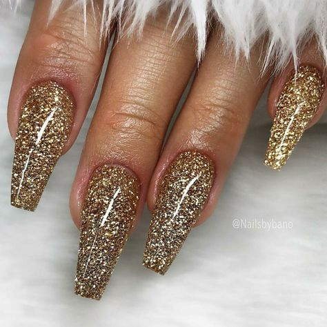 Ballerina Nails. Gold Glitter Nails. Acrylic Nails. Gel Nails.