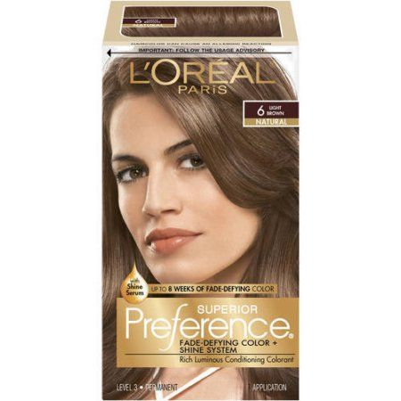L Oreal Paris Superior Preference Fade Defying Shine Permanent Hair Color 6 Light Brown 1 Kit Walmart Com In 2021 Loreal Hair Color Foam Hair Color Hair Color Light Brown
