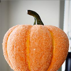 """""""Cover a pumpkin with glue and epsom salt for a sparkle that's more classic-looking than glitter ."""" - Cute for mini pumpkins on tables."""