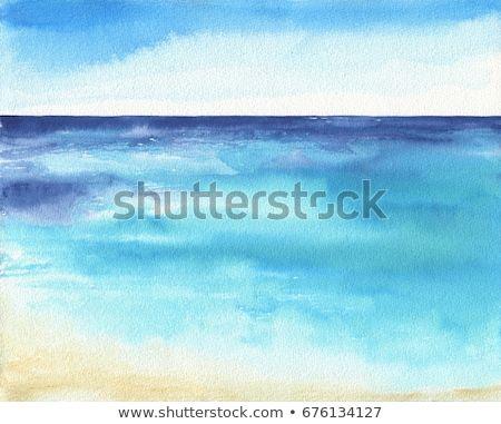 Ocean Landscape Sea Side Beach Beautiful Watercolor Hand Painting Illustration Landscape Seaside Illustration