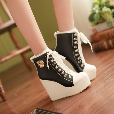 Women's Bluckle Lace Up Wedge High Heels Platform Boots Sneakers Shoes Plus Size Black Wedge Sneakers, High Heel Sneakers, Sneaker Heels, Wedge Heel Boots, Heeled Boots, Shoe Boots, Boot Heels, Wedge Sandals, Women's Shoes