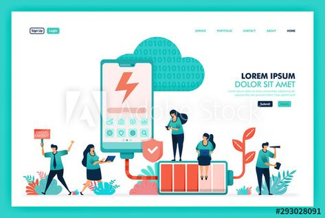 Design Vector Of Green Energy Battery And Mobile Smartphone With Charging System Technology That More Envi Green Energy Flat Design Illustration Vector Design