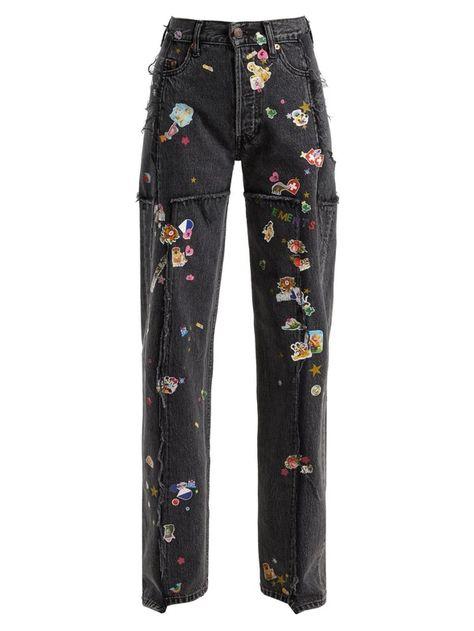 Vetements Sticker Mid-rise Straight Leg Jeans In Black Best Jeans For Women, Blue Dress Pants, Painted Jeans, Look Vintage, Jeans Style, Diy Clothes, Fashion Looks, Fashion Outfits, My Style
