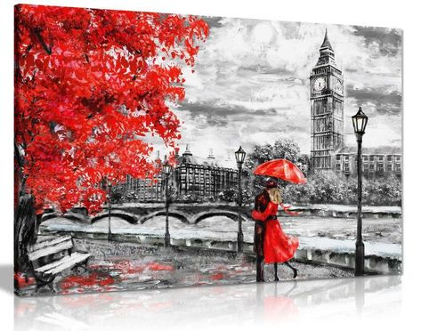 London Oil Painting Artwork Big Ben Red Umbrealla Canvas Wall Art Picture Print | eBay