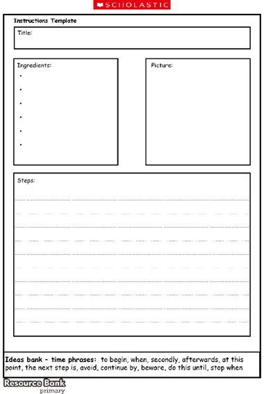 A Template For Children To Use When Writing A Recipe Textos