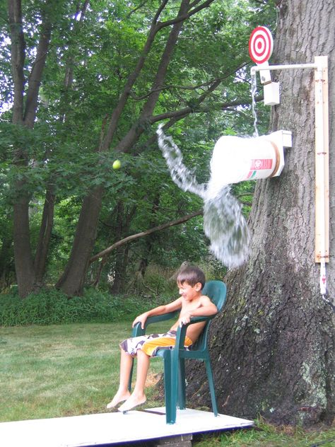 "how to make a homemade ""dunking booth"" without the booth, or the dunking.  but you still throw balls at a target to get the victim wet!"