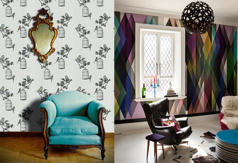 On the right - THAT'S an accent wall! LOVE, LOVE, LOVE