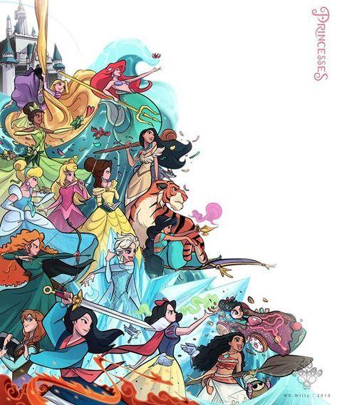 My Princesses ✨ • • #disneyprincess #princess #Disney #illustration #designcharacter #ralphbreakstheinternet #wreckitralph #conceptart…