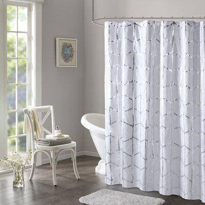 Willa Arlo Interiors Mangesh Microfiber Shower Curtain Color White Silver Curtains Shower Intelligent Design