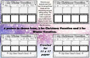 Nd Christmas Break 2020 Winter and Christmas Vacation Poster With New Year's Goals in 2020