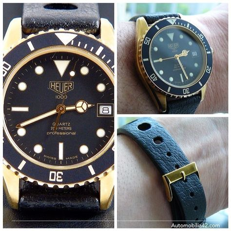 Heuer 1000 Submariner Man 18K gold plated on a Tropic Sport band 984.013L
