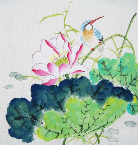 Excited to share this item from my shop: Lotus flower and bird,Chinese brush painting,bird and flower painting, 100% Hand-painted, ink wash painting, original watercolour painting #art #painting #housewarming