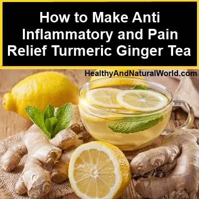 Anti-Inflammatory Ginger Turmeric Tea Recipe ~   For 1 cup of water use 1 teaspoon each of fresh grated turmeric and ginger roots. If you use ground turmeric and ginger, use 1/3 teaspoon each. Add raw honey to taste, and a slice of lemon if you want.