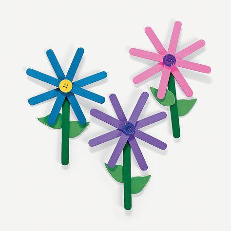 Craft Stick Flower Craft Kit - OrientalTrading.com