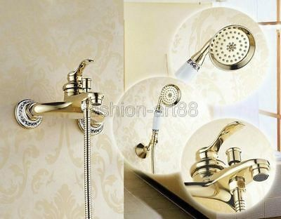 Advertisement Gold Color Brass Wall Mounted Handheld Shower Head Bathroom Tub Mixer Tap Ftf404 Bathroom Tub Faucet Handheld Shower Head Brass Bathroom