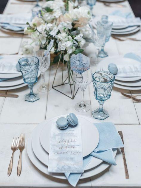 Vellum Wedding Menu with dusty blue accents | Macaroon wedding favors