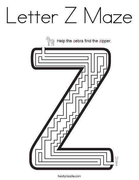 Letter Z Maze Coloring Page Twisty Noodle Lettering Letter Z Coloring Pages