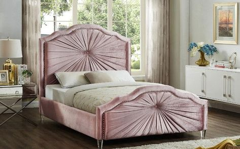Rosie Pink Queen Size Bed Meridian Furniture Velvet Bed Frame Upholstered Platform Bed