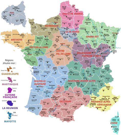 carte de france des regions avec les nouvelles régions en 2020 (avec images) | Carte des