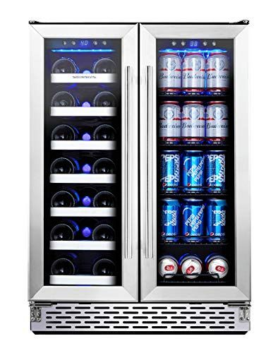 Phiestina Wine And Beverage Refrigerator 24 Inch Built In Dual Zone Wine Beer Cooler Refrigerator Free Stan In 2020 Beverage Refrigerator Beer Cooler Wine And Beer