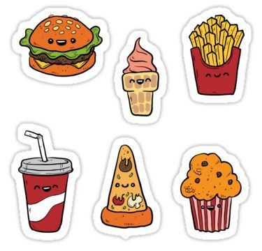 Fast Food Stickers For Journals Planners Scrapbooking Sticker By Sandityche In 2021 Cute Stickers Food Stickers Scrapbook Stickers