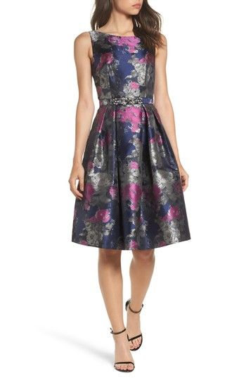 Free shipping and returns on Eliza J Jacquard Fit & Flare Dress at Nordstrom.com. Make an entrance at your next event in this fit-and-flare that's even more spectacular with a bejeweled belt, convenient pockets and a metallic-jacquard motif.